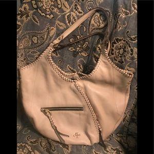 orYANY Hobo Tote Bag with Braided Trim, Bone/Ivory
